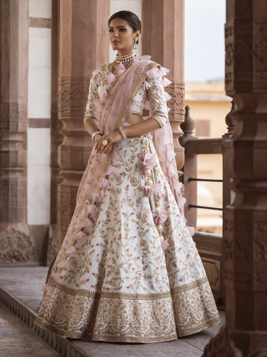 Jaal Embroidered Designer Silk Lehenga